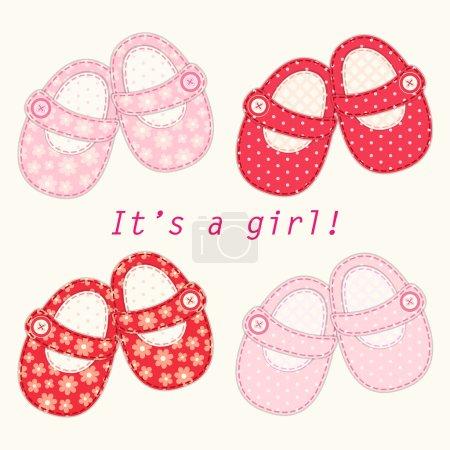 Illustration pour Set of cute baby girl shoes as retro fabric applique, ideal for baby shower - image libre de droit
