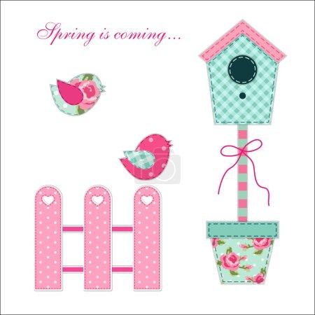 Illustration pour Joli printemps rétro et jardins éléments comme appliques tissu d'oiseaux et de leur maison - image libre de droit