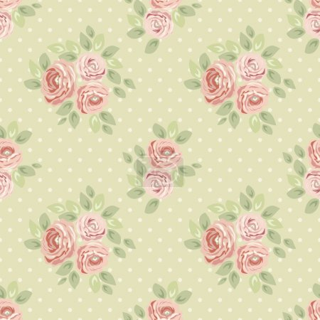 seamless pattern with roses and polka dots