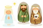 Cute hand drawn characters of Nativity scene with angel and shepherds
