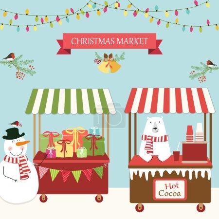 Cute retro card of Christmas market. Vector Illust...