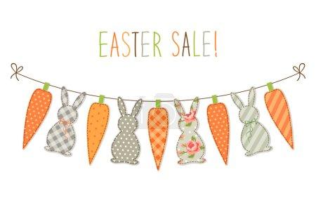 Illustration pour Mignon bunting de Pâques enfantin avec des lapins et des carottes et texte écrit à la main Vente de Pâques pour votre décoration - image libre de droit