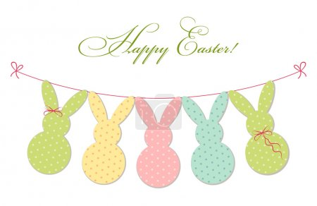 Illustration for Cute festive Easter bunting as polka dots bunnies for your decoration - Royalty Free Image