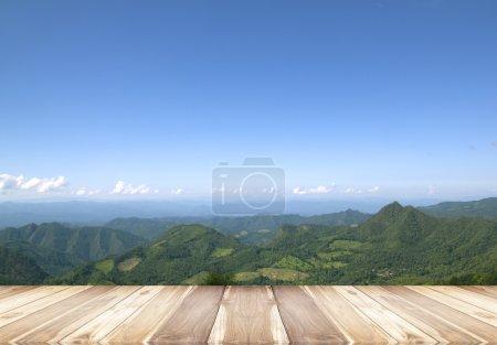 Wooden floor isolated sky background