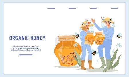 Illustration pour Bannière de site Web pour la vente de ruchers et de produits à base de miel avec des apiculteurs. Extraction de miel et d'apiculture. Page d'accueil pour magasin de miel ou apiculture, illustration vectorielle plate. - image libre de droit