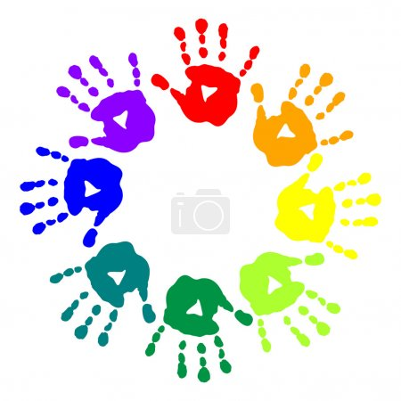 Illustration for Bright postcard with a colorful handprints - Royalty Free Image