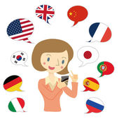 Various national flag of illustrations and women that use the translation app