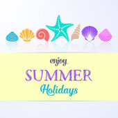 Summer holidays card with sea shells