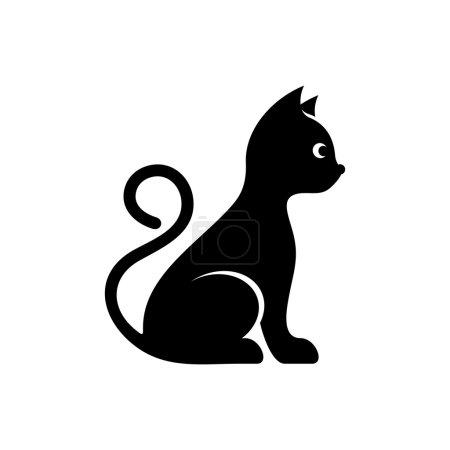 Illustration pour Icône de chat vecteur noir mignon isolé sur blanc - image libre de droit