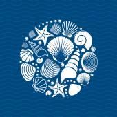 White vector summer sea shells