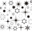 Various black vector stars collection on white bac...