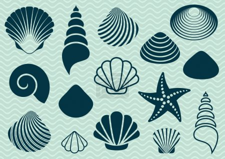 Set of various sea shells and starfish silhouettes...