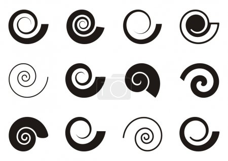 Illustration for Set of various spiral icons on white background - Royalty Free Image