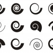 Set of various spiral icons on white background