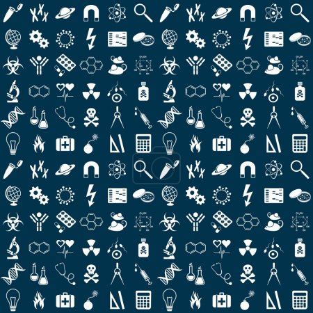 Illustration for Seamless vector pattern with white science symbols - Royalty Free Image