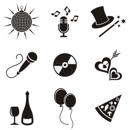 Illustration pour Icônes de fête et de divertissement noir collection de silhouette vectorielle - image libre de droit