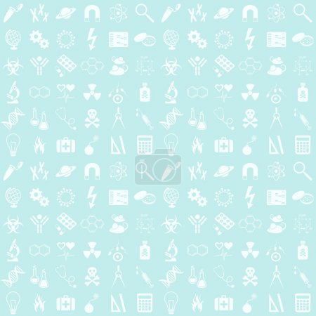Illustration for Blue seamless vector pattern with various science icons - Royalty Free Image