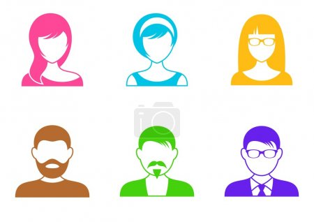 Men and women colorful icons on white background...