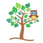 Cute vector single colorful owl sitting on tree