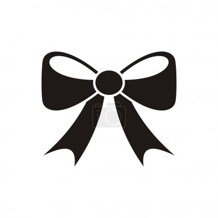 Illustration for Black vector bow icon isolated on white background - Royalty Free Image