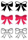 Set of different black and red vector bows