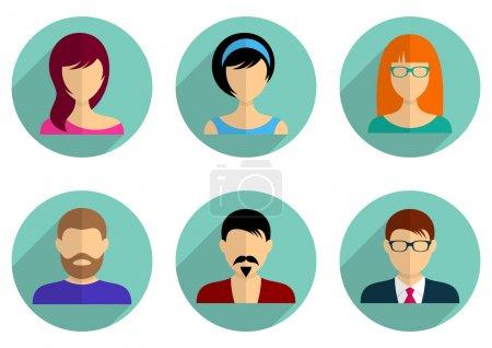 Illustration pour Hommes et femmes avatar icônes longue ombre conception - image libre de droit