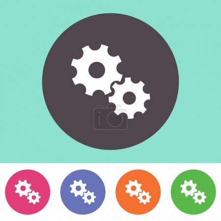 Illustration for Vector gear wheels icon on round colorful buttons - Royalty Free Image