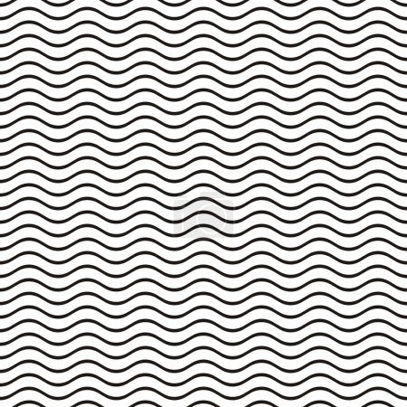 Illustration for Black seamless wavy line pattern vector illustration - Royalty Free Image