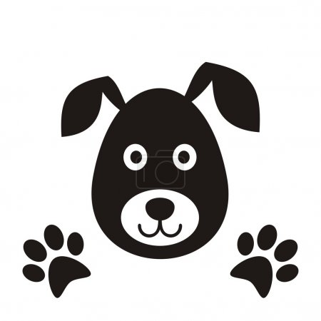 Illustration pour Tête de chien noir simple avec illustration vectorielle pattes - image libre de droit