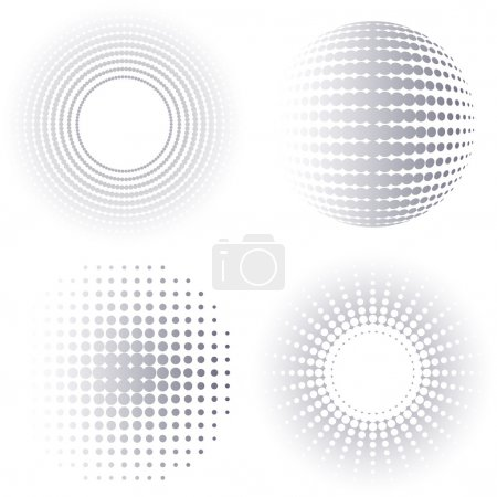 Illustration for Grey gradient vector circle halftone design elements collection - Royalty Free Image