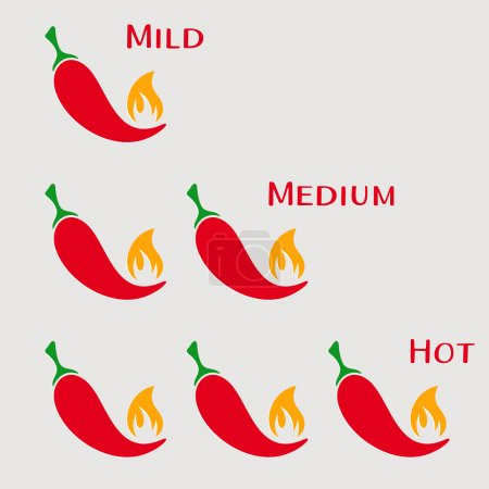 Vector red hot chilli peppers mild medium hot...