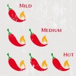 Grunge red hot chilli peppers mild medium hot...