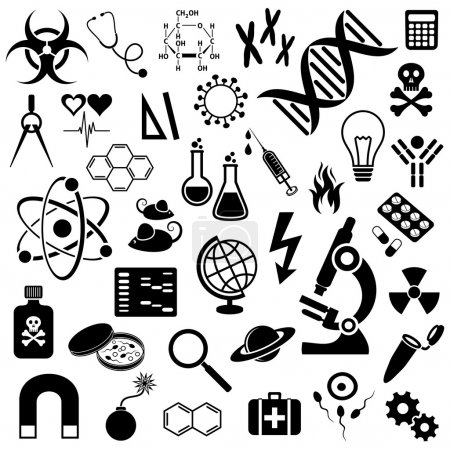 Illustration for Black vector science icons collection on white background - Royalty Free Image
