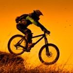 Downhill mountain bike ride at sunset...