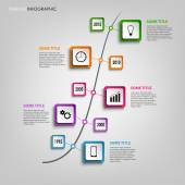 Time line info graphic with colored squares design template