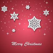 Červená vánoční přání s bílými hvězdami na pozadí