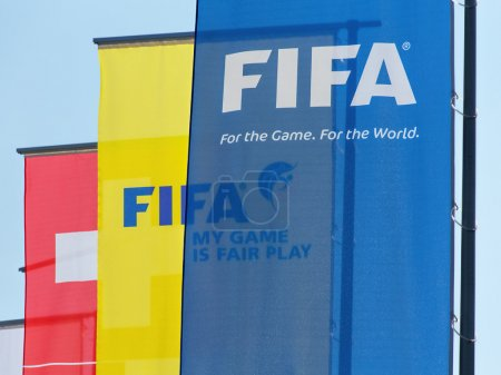 Flags at the entrance to the FIFA headquarter in Zurich