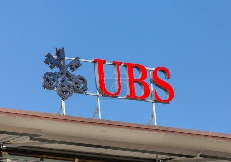 Zurich, Switzerland - 7 June, 2015: UBS logotype o...
