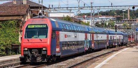 Tren que llega a la estación principal de tren de Winterthur