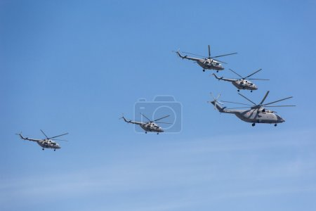 Mi-26 (Halo) and Mi-8AMTK (Hip) helicopters
