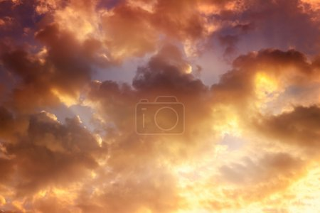 Photo for Orange sky, clouds and sun behind the clouds, sun, sunrise and sunset, instagram effect - Royalty Free Image