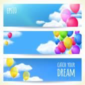 Sada vodorovných bannery s barevnými balónky. Vektorové ilustrace, upravovat