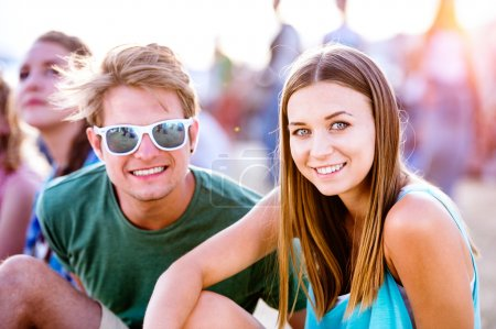 Teenagers at summer music festival