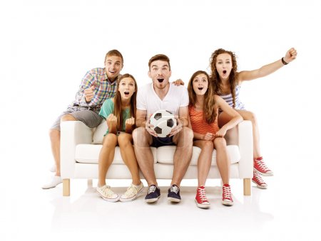 Young fans watching football