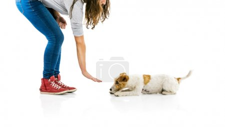 Woman training dog