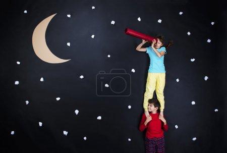 Children getting ready for bedtime.