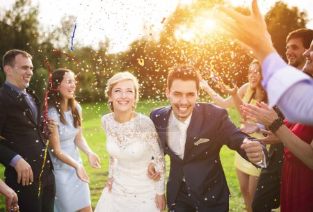 Quarter length portrait of newlywed couple and their friends at the wedding party showered with confetti in green sunny park