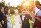 Novomanželský pár a jejich přátelé