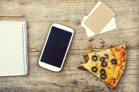 Smart phone, office supplies and pizza