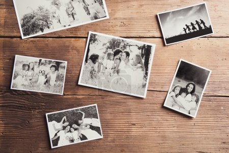 family photos on wood